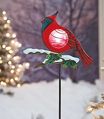 red cardinal solar powered light christmas bird outdoor yard decoration - Solar Powered Outdoor Christmas Decorations