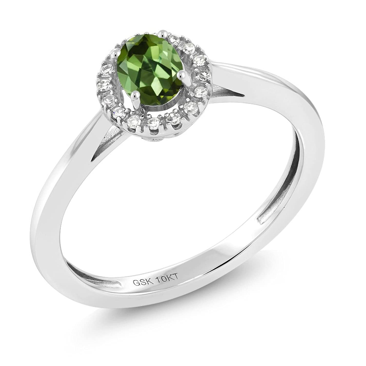 10K White Gold Diamond Engagement Ring with Oval Green Tourmaline (Available in size 5,6,7,8,9)