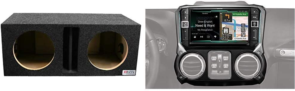 """Bbox E10DV Dual 10"""" Vented Divided Chamber Subwoofer with Alpine Electronics X209-WRA 9"""" Restyle Navigation System with Apple CarPlay & Android Auto for Jeep Wranglers (2011-2017)"""