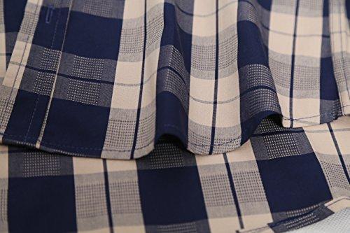 Coton Bleumarine Loisir Multicolor Manches Chemise Carreaux Homme Courtes Brossée Nutexrol Pour Casual À 76E4qWwx