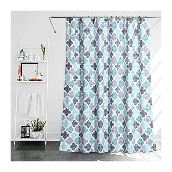 """Haperlare Fabric Shower Curtain, Aqua Polyester Cotton Blend Fabric for Bathroom Showers and Bathtubs, Geometric Pattern Heavy Textured Fabric Shower Curtain for Bathroom, 72"""" x 72"""", Gray/Aqua - QUALITY MATERIAL: Our shower curtain with soft hand feel is made ofa 75% polyester/25% cotton blend fabric, odorless, eco-friendly and durable, thick material. Instantly upgrades any bath to create a relaxing spa-like environment. BATHROOM DECORATIONS: The fabric shower curtain provides perfect privacy and decorative appeal. Inspired by the feeling of stylish and elegant, the quatrefoil geometric pattern shower curtain can also instantly update any bathroom decor theme. SERVE WELL: Bold graphics printedadds real value and depth to your decor. This unique & modern designs match well with various color palettes of towels, rugs, bathroom mats and any other bathroom accessories. Not waterproof, use of liner recommended for added protection. - shower-curtains, bathroom-linens, bathroom - 514w%2BQ3URbL. SS570  -"""