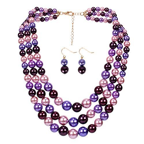 Purple 3 Strand - KOSMOS-LI 3 Layer Faux Pearl Strand Necklaces for Women Mix Purple Tone Costume Jewelry