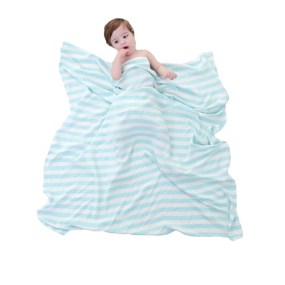 Babyhood Organic Bamboo Muslin Breathable Blankets Ultra Soft Baby Infant Receiving Blankets Blue Stripes