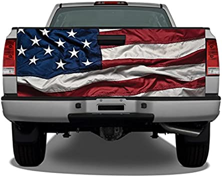 American Flag Waving #2 Truck Tailgate Vinyl Graphic Decal Wraps