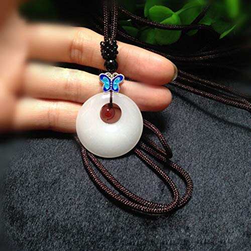 White Buckle Pendant Cloisonne Butterfly Transhipment Jewels Lucky Crystal Amulet Pendant Necklace Jades Pendant Jewelry
