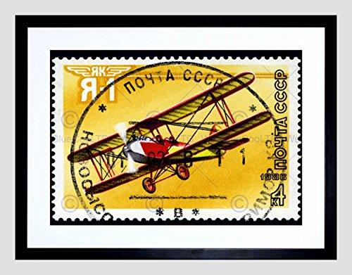 USSR Vintage Postage Stamp Aviation Plane Black Framed Art Print B12X8927