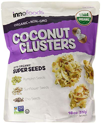 - InnoFoods Coconut Clusters with Organic Super Seeds Pumpkin; Sunflower & Chia Seeds 18 oz (Coconut, Single Pack)