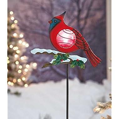 Red Cardinal Solar Powered Light Christmas Bird Outdoor Yard Decoration