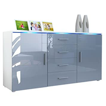 Vladon Sideboard Kommode Faro Korpus In Weiss Matt Front In Grau