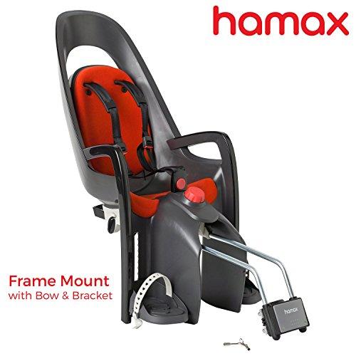 Hamax Caress Rear Child Bike Seat (Grey/Red, Frame - Safety First Bike Trailer