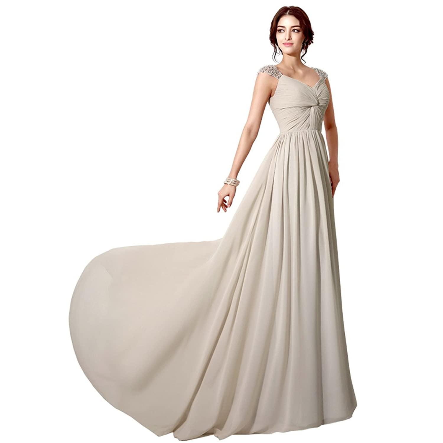 Sarahbridal Women's Chiffon Long Formal Evening Bridesmaid Dresses Sequined Party Gowns with Pearls SSD202