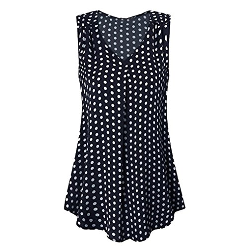 Velvet Burnout V-neck Top - iYYVV Women's Vintage Sleeveless V Neck Pleated Chiffon Polka Dot Tank Top Vest