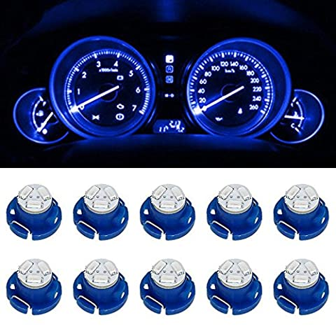 Partsam T5 T4.7 Neo Wedge Instrument Dashboard LED Light Bulbs 12mm 12V 3-SMD A/C Climate Heater Controls Instrument Panel Gauge Cluster Dashboard LED Light Bulbs Set – Blue (Pack of (2002 Dodge Ram 2500 Dashboard)