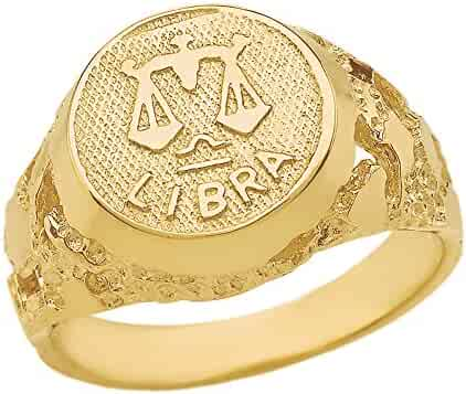 Solid 14k Yellow Gold Libra Zodiac Sign Band Nugget Men's Ring