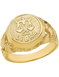 Solid 14k Yellow Gold Zodiac Sign Band Nugget Men's Ring