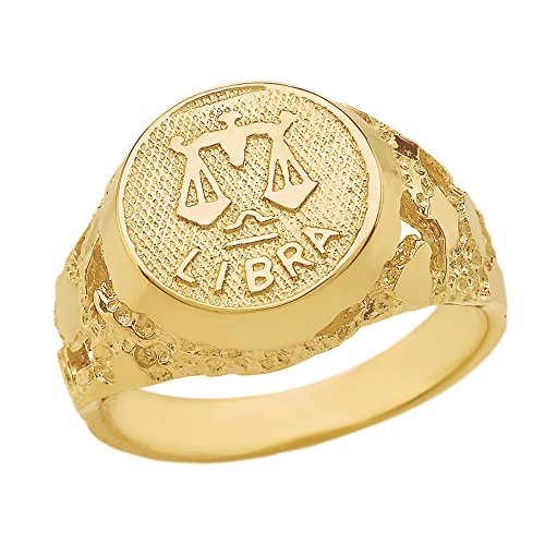 Solid 14k Yellow Gold Libra Zodiac Sign Band Nugget Men's Ring (Size 5.5)