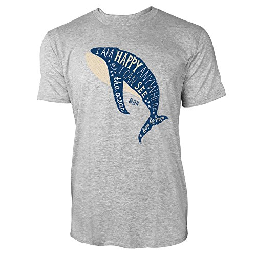 SINUS ART ® I Am Happy Anywhere I Can See The Ocean Herren T-Shirts in hellgrau Fun Shirt mit tollen Aufdruck