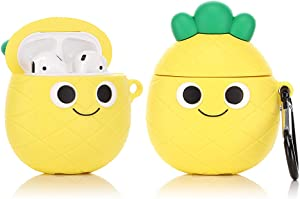 LEWOTE Airpods Silicone Case Funny Cute Cover Compatible for Apple Airpods 1&2[Fruit and Vegetable Series][Best Gift for Girls or Couples] (Cute Pineapple)