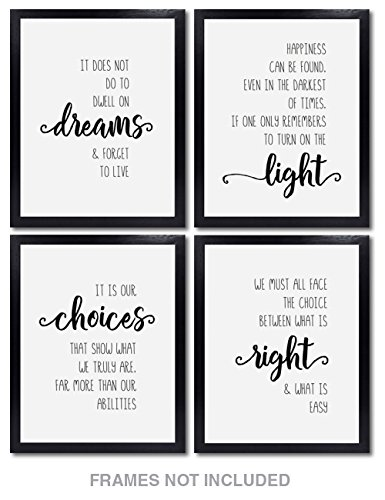 Confetti Fox Harry Potter Wall Decor - Set of 4 Unframed 8x10 White Pearl Art Prints - Dumbledore Quotes and Sayings Themed Art Gift for Home, Bathroom, Bedroom, Kids, Baby ()