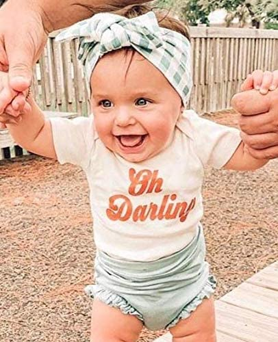 ARLAYO Newborn Baby Clothes Romper Toddler Girl Bodysuit Summer T Shirt Pants Headband