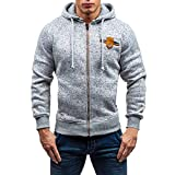 PASATO Mens Autumn Winter New Casual Zipper Long Sleeve Pullover Sweatshirt Hoodie Coat Top Clothes Pure Color Polo(Gray, M)