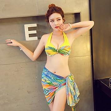 XIAOHUAHUA Trois Morceaux De Bikini Maillot De Bain Femme Petite Poitrine, Grosse Poitrine Holiday Hot Spring