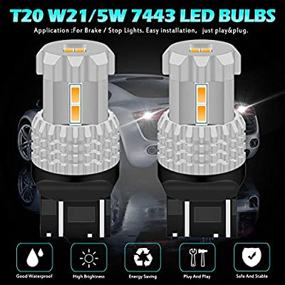 Pack of 2 KaTur BAU15S 7507 1156PY PY21W LED Bulbs High Power 12pcs 3020SMD Extremely Bright 2800 Lumen Replacement for Turn Signal Light Backup light Tail light Brake light Amber Yellow