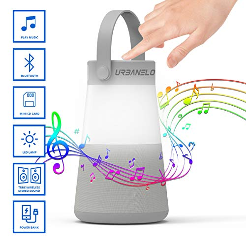 Weekender Portable Bluetooth Speaker – 10000 mAh Power Bank with LED Lantern for Outdoor, Hiking.