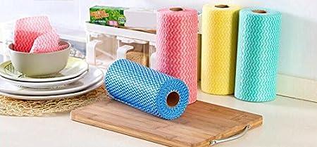 Toallitas reutilizables de tela no tejida, rollo de 50 paños de limpieza (paquete de 2, rojo, azul): Amazon.es: Hogar