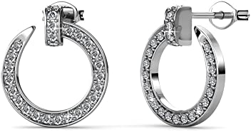 82a7323c1 Cate & Chloe Raven Stunning White Gold Drop Earrings, 18k Gold Plated Ring  with Swarovski
