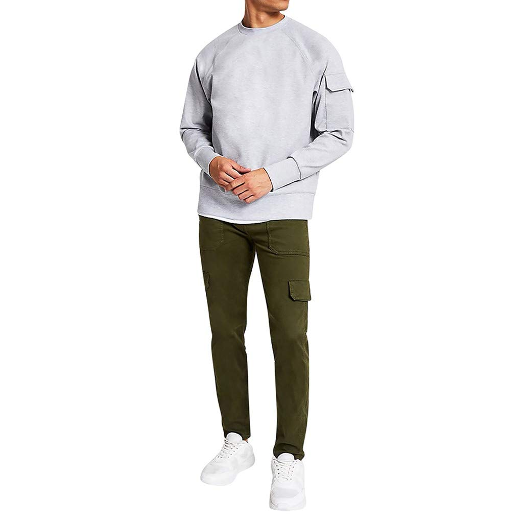 WINJUD Mens Sweatshirt O-Neck Long Sleeve with Pocket Pullover Oversized Solid Casual Tops Gray by WINJUD