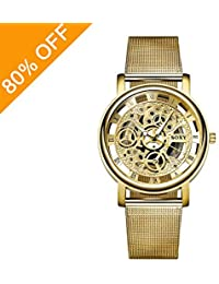 Daimon Men's Watches with Skeleton Face Gold Wrist Watches for Men
