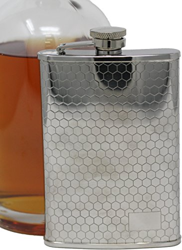 6 oz Pocket Hip Alcohol Liquor Flask in Etched Honeycomb Print - Made from 304 (18/8) Food Grade Stainless ()