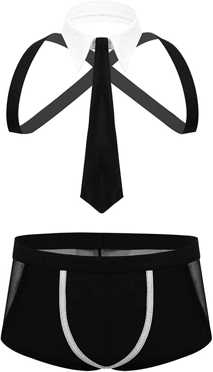 Herren Stripper Set G-String Fliege Kragen und Armbänder Outfit Kellner Kostüm