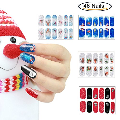 Christmas Nail Art, Glitter Nail Stickers for Women Teens Girls Kids, Christmas Nail Wraps, Easy to Apply, Long Lasting, 4 Sheets Perfect Dress up Nail Art Stickers for Fingers or Toes Christmas Gift (Nails Christmas Kids)