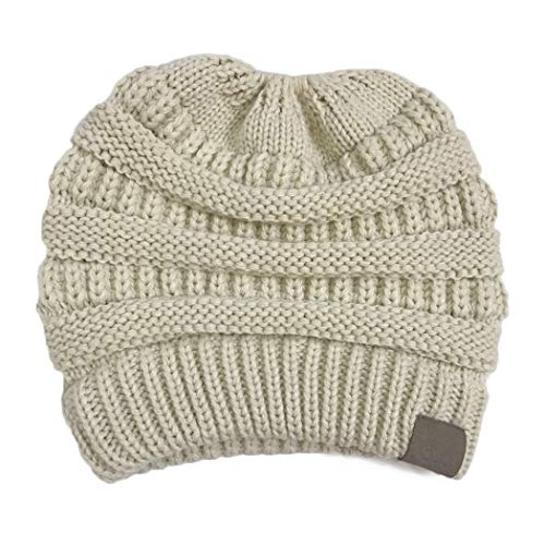 Sasarh BeanieTail Soft Stretch Cable Knit Messy High Bun Ponytail Beanie Hat Beige