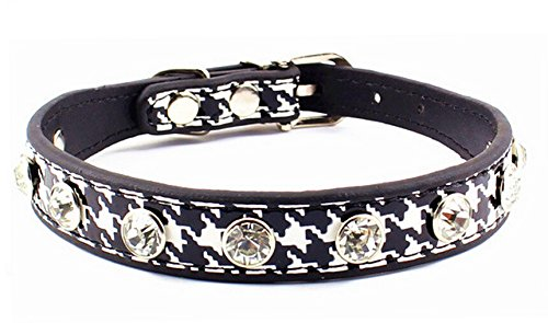 (Dogs Kingdom Houndstooth Pet Collars Rhinestone Crystal Studded Pu Leather Dog Collar Black S)