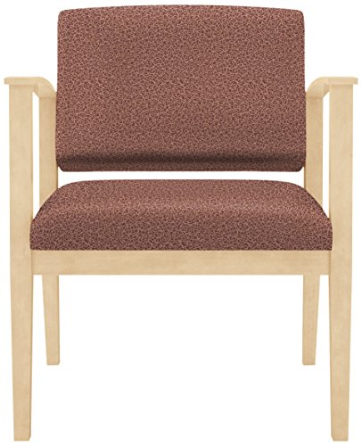 Lesro Amherst Wood Oversize Guest Chair in Natural Finish, Tendril Auburn