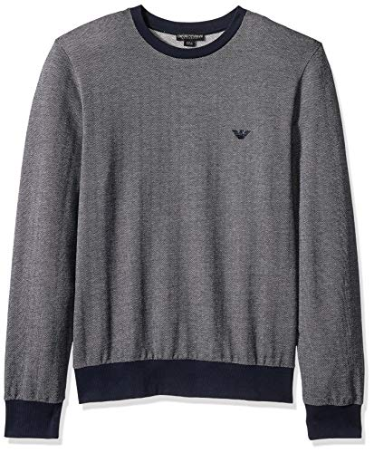 Emporio Armani Men's Terry Sweater, Marine, Large