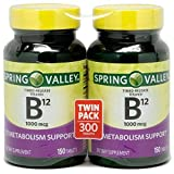 Spring Valley - Vitamin B-12, Timed Release 1000 mcg, 300 Tablets, Twin Pack by Schiff Nutrition International.