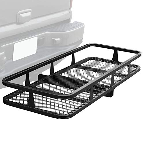 Lovinland 59'' x 21'' Hitch Mounted Folding Cargo Carrier Luggage Basket Rack Load 500 Lbs for SUV Car Black … -