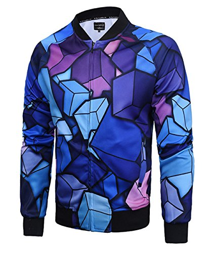 Men's Long Sleeves 3D Floral Cubic Galaxy Print Bomber Baseball Jacket Coat Blue (Graphic Bomber Jackets For Men)