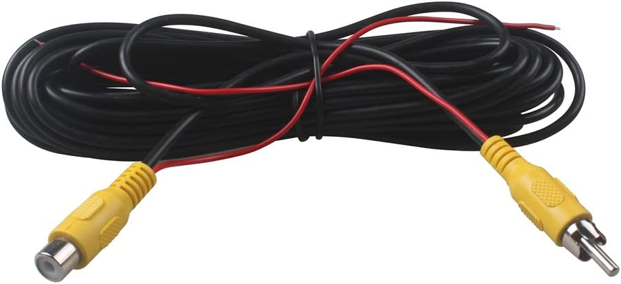 RCA Male to Female Car Reverse Rear View Parking Camera Video Audio Extension 6M Cable with Detection Wire 6 Meters 20 Ft by HitCar