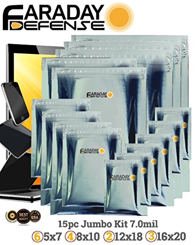 Faraday Cage Military Grade Uber THICK EMP ESD Solar Flare Bags 15pc 2-Metal Layer, FULLY-SPECCED, Heavy Duty Electro-shielding Kit X-Large Laptop / Notebook iPad Windows Survivalists Preppers