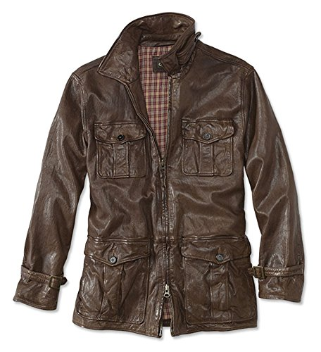 Orvis Men's Fulton Leather Riding Jacket, Brown, Large