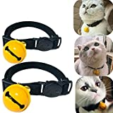 Cat Collars with Bell, Runfish Breakaway Dog Collar Adjustable Fashion Funny Cute Pet Collar Set of 2, Black
