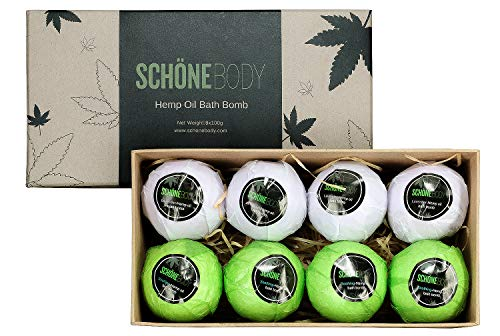 Hemp-Bath-Bombs-Large-Set-of-8-Bath-Bombs-By-Schone-Body-2-relaxing-Scents-of-Refreshing-Mint-and-Hemp-Oil-and-Soothing-Lavender-and-Hemp-Oil-Made-with-Pure-Essential-Oil-Vegan-Set