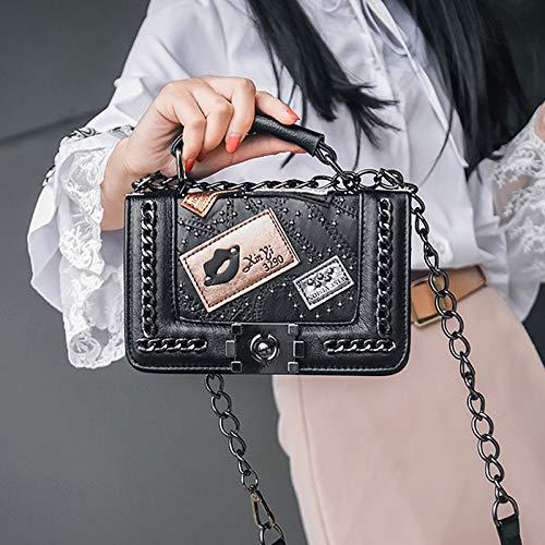 Negro diseño rosa de Bolso Mujer Retro para Negro Queta pequeño Negro tamaño Hombro Color Diagonal 1TZ8ZOw