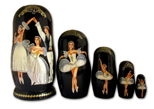 Alexandra Int'l Russian Matryoshka Baley Dancers Ballet Nesting Doll 5pc 7 Inch