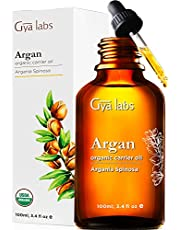 Gya Labs Organic Moroccan Argan Oil For Hair and Skin - Reduce Dry, Frizzy Hair and Dry Scalp - Boost Hair Growth and Moisturize Dry Skin - 100 Pure, Natural, Cold Pressed Carrier Oil Hair Oil - 100ml